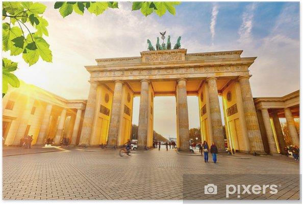Plakat Brama Brandenburska o zachodzie słońca - Miasta europejskie