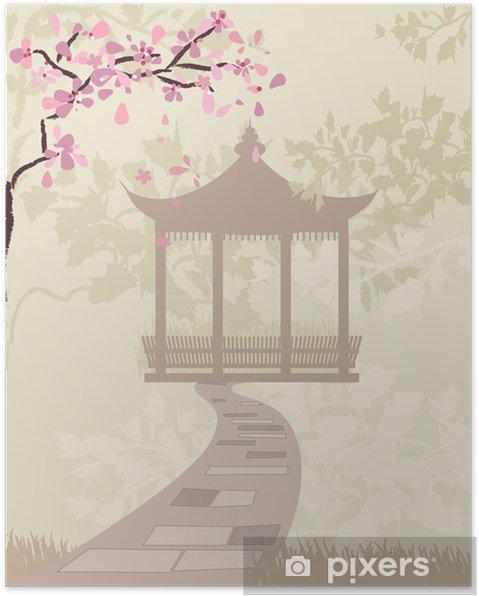 Plakat Brama china z kwiatów wiśni - Tematy