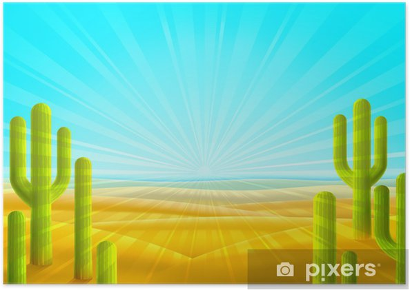 Plakat Bright piaszczysta pustynna sceneria z kilku zielonych kaktusów - Pustynie
