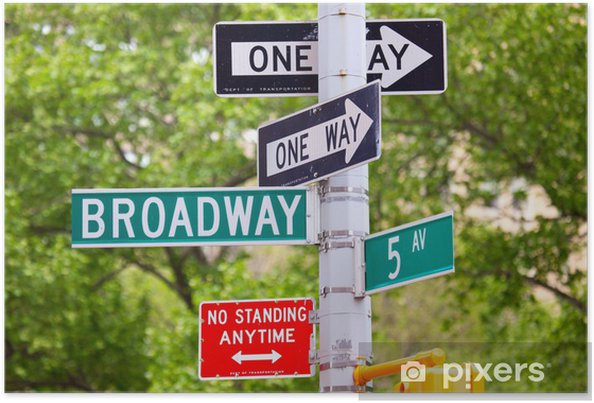 Plakat Broadway, 5th Avenue i jedna ulica Znaki Way, New York - Znaki i symbole