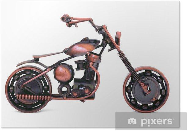 Plakat Bronze model z tasakiem motocykla. Widok z boku. Odizolowany - Gry