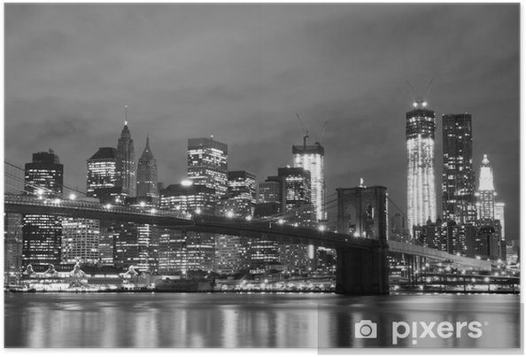 Plakat Brooklyn Bridge i Manhattan Skyline w nocy, New York City -