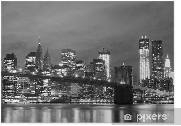 Plakat Brooklyn Bridge i Manhattan Skyline w nocy, New York City -