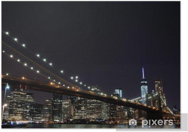 Plakat Brooklyn Bridge i Manhattan Skyline w nocy, New York City - Brooklyn Bridge