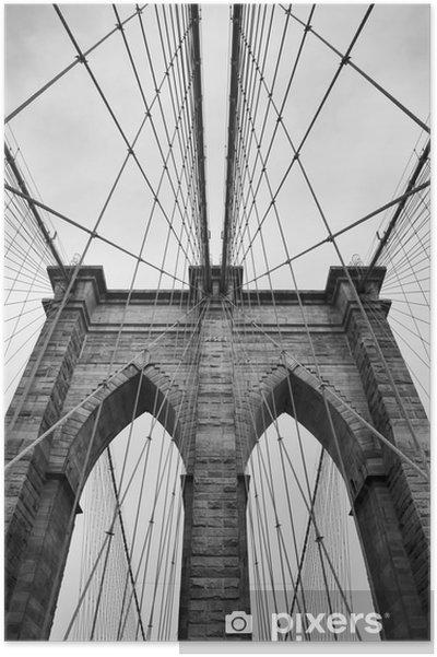 Plakat Brooklyn Bridge New York City bliska detal architektoniczny w ponadczasowej czerni i bieli - Podróże