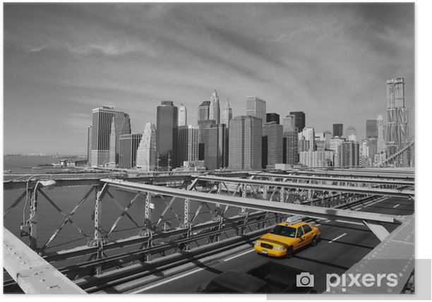 Plakat Brooklyn Bridge taksówki w Nowym Jorku -
