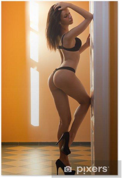 Plakat Brunette piękno bielizny. - Tematy