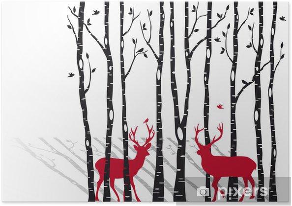 Plakat Brzozy z Christmas jelenie, wektor -
