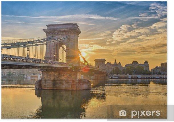 Plakat Budapeszt wschód słońca panoramę miasta w Budapeszcie most łańcuchowy i Dunaju, Budapeszt, Węgry - Podróże