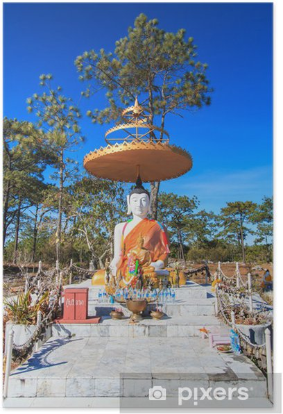 Plakat Budda w Phu Kradueng parku narodowego, Loei prowincji Tajlandii - Azja