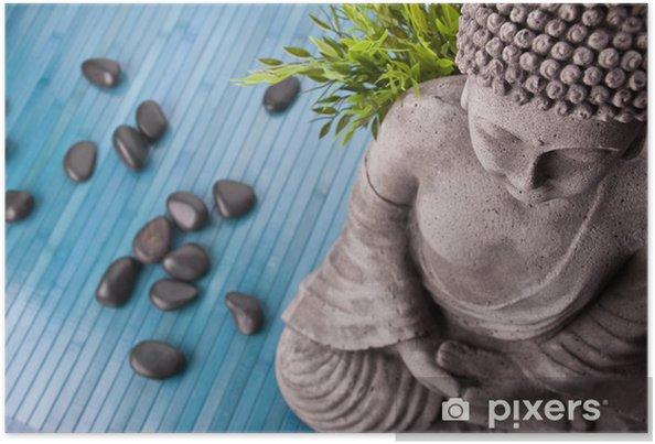 Plakat Budda z bambusa, Masaż kamieniami i miski z kwiatami - Tematy