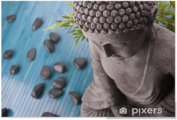 Plakát Buddha se bambus a masážní kameny - Životní styl, péče o tělo a krása