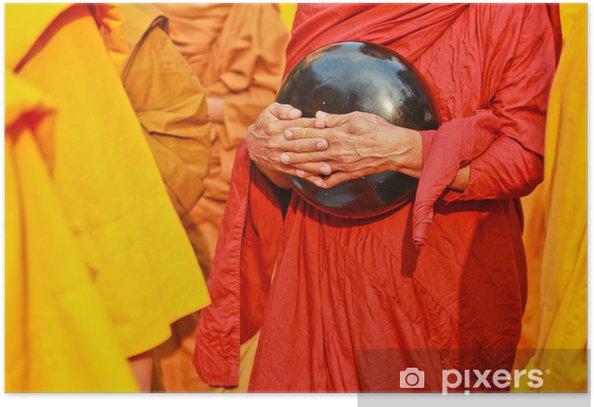 Plakát Buddhistický mnich je almužna mísa - Náboženství