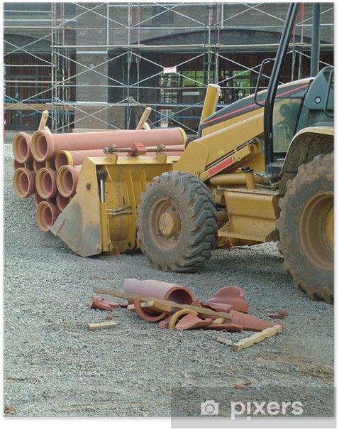 Plakat Budownictwo, rury gliny, terakoty - Infrastruktura
