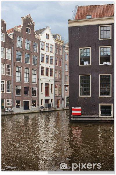 Plakat Budynki kanałem w Amsterdamie - Europa