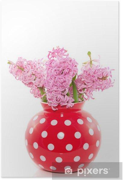 Plakat Bukiet różowe hiacynty w czerwonym Wazon biały przerywaną samodzielnie - Kwiaty