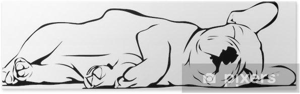Plakat Buldog francuski dziecko śpi - Naklejki na ścianę