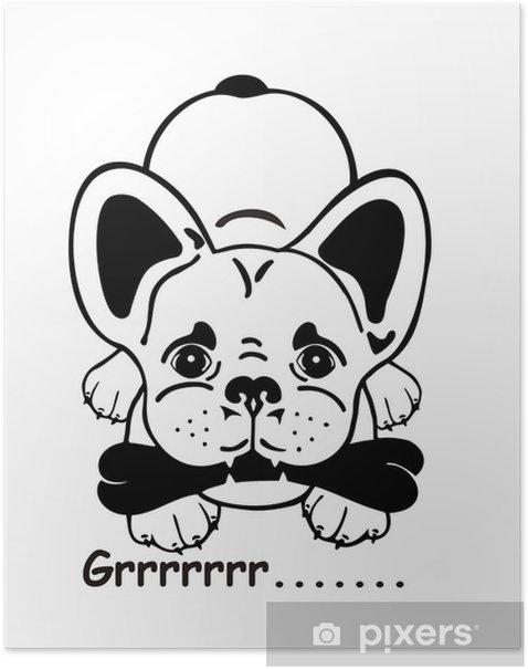 Plakat Buldog francuski komiks - Ssaki
