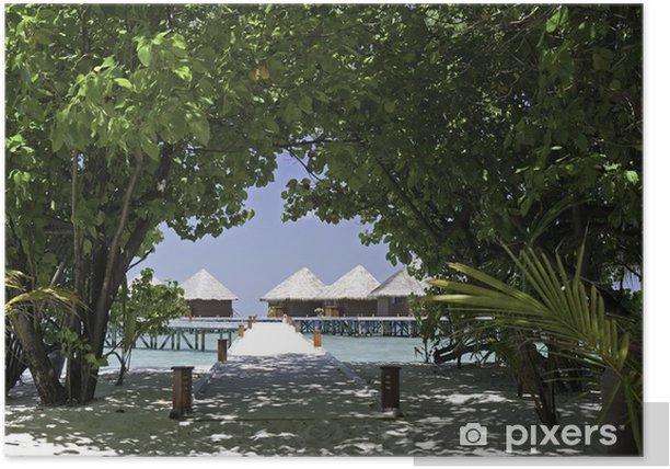Plakat Bungalowy wody na tropikalnej wyspie kurortu, Malediwy - Wakacje