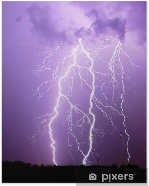 Plakat Burza z piorunami - Klęski żywiołowe