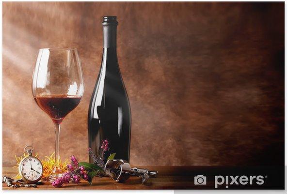 Plakat Butelka czerwonego wina z lampką - Alkohol