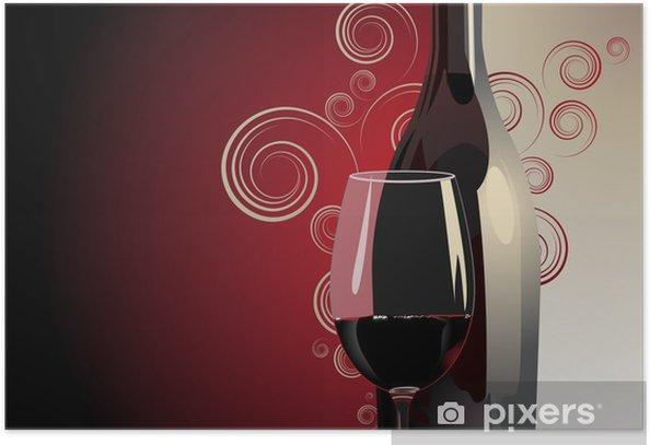 Plakat Butelka i kieliszek czerwonego wina - Tematy