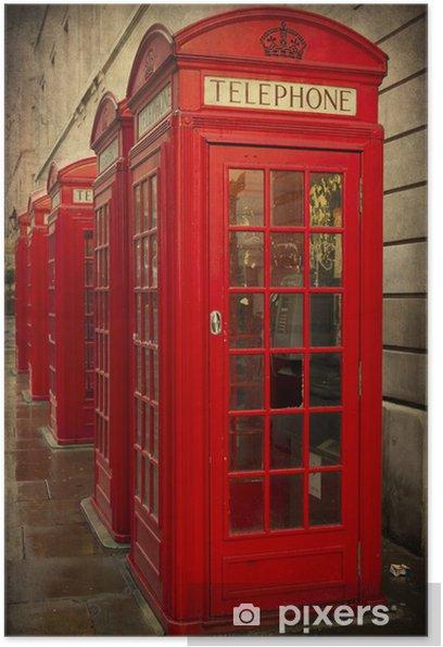 Plakát CABINE telefoniche Inglesi, Londýn, textura retro - Témata