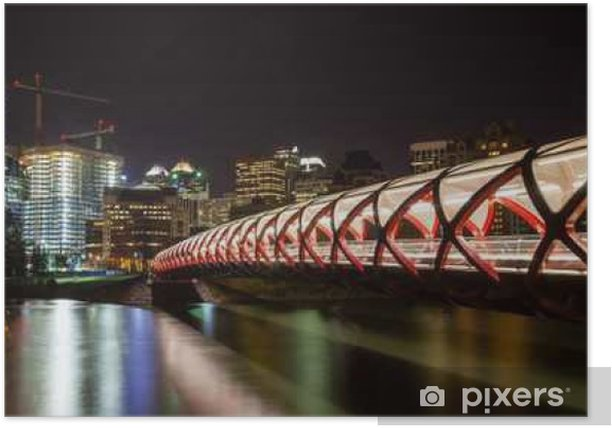 Plakat Calgary Peace Bridge Over Bow River - Budynki i architektura