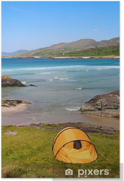 Plakat Camping w Ring of Kerry wybrzeżu - Woda