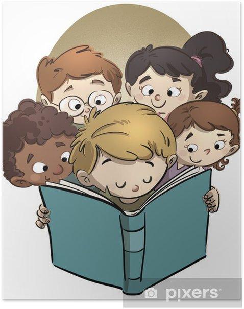 Plakát Caras de niños leyendo - Děti