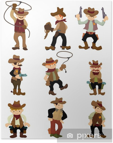 Plakat Cartoon cowboy icon - Mężczyźni