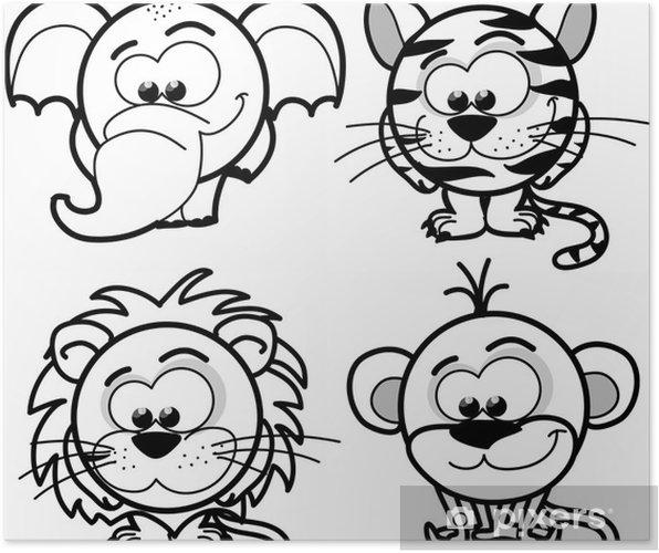 Plakat Cartoon cute zwierząt, wektor - Ssaki
