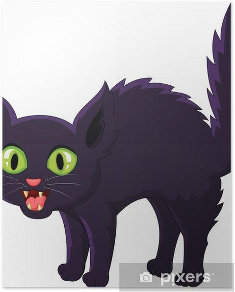 Plakat Cartoon czarny kot przestraszony - Ssaki