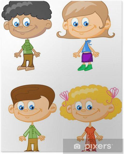 Plakat Cartoon dzieci, studenci - Edukacja