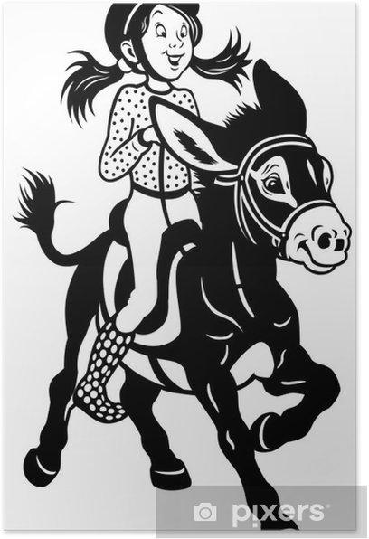 Plakat Cartoon Dziewczyna z czarny biały osioł - Ssaki