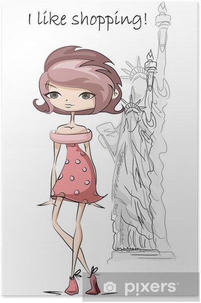 Plakat Cartoon dziewczyny mody w Stanach Zjednoczonych, tło - Moda