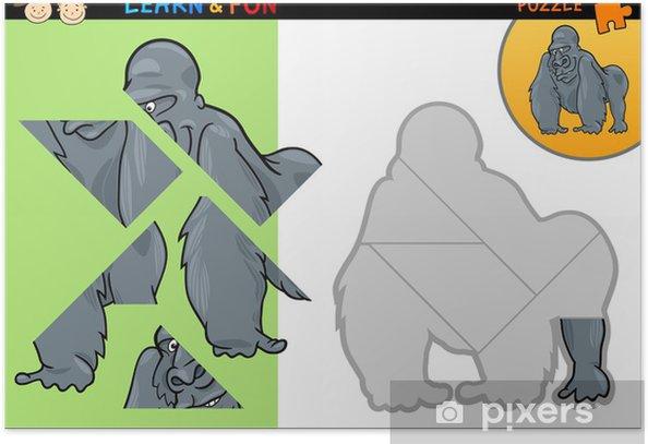 Plakát Cartoon gorila puzzle hra - Vzdělávání