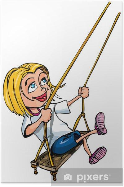 Plakat Cartoon młoda dziewczyna na huśtawce - Dzieci