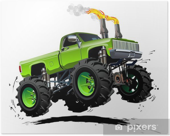 Plakat Cartoon Monster Truck - Transport drogowy