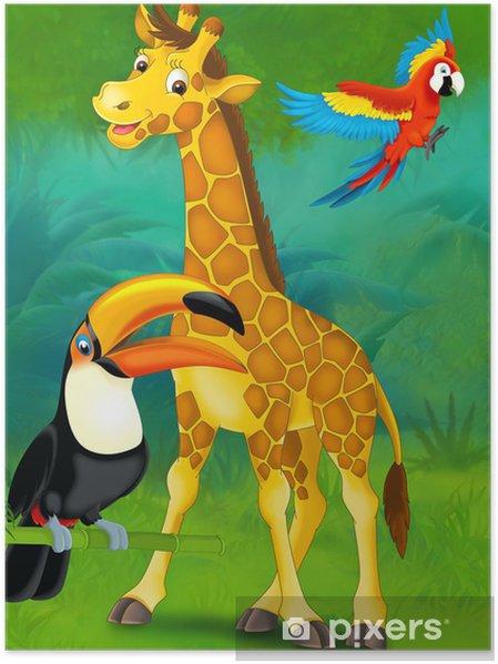 Plakat Cartoon safari - ilustracja dla dzieci - Dla przedszkolaka