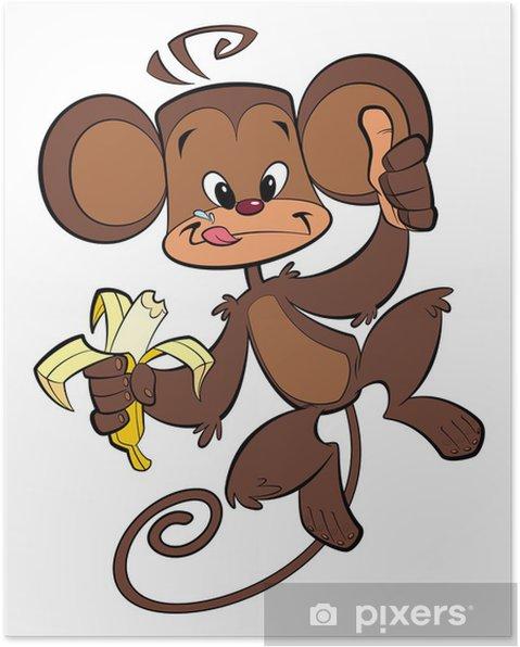 Plakát Cartoon šťastný opice jíst banány - Štěstí