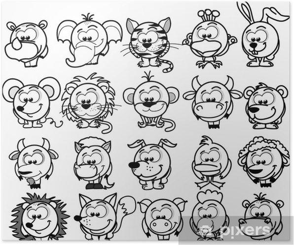 Plakat Cartoon wektor zwierzęta - Ssaki
