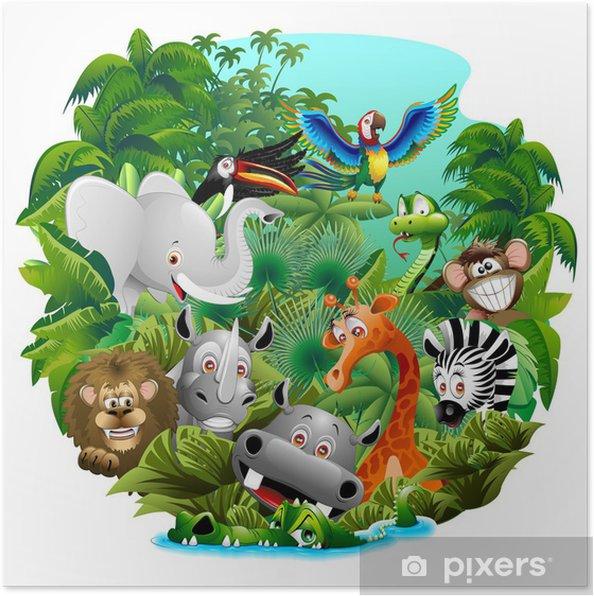 Plakat Cartoon zwierząt dzikich zwierząt dżungli, na dziki w dżungli - Ssaki