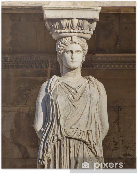 Plakát Caryatid starověký socha, erechteion chrám, Athény Řecko - Evropská města