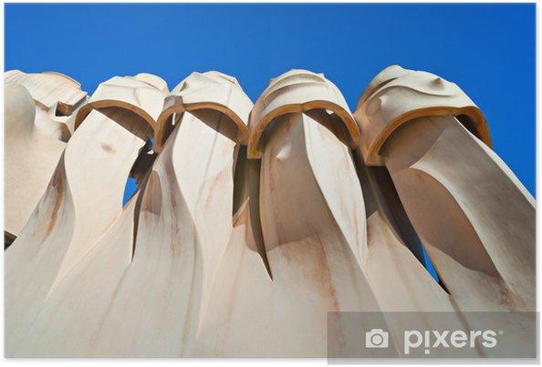 Plakat Casa Mila, znany również jako kamieniołom, Barcelona w Hiszpanii. - Miasta europejskie