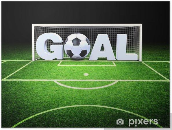 Plakat Celem 3d z piłki nożnej na stadionie - Sukces i osiągnięcia