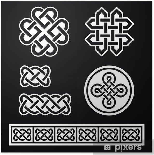 Plakat Celtic irlandzkie wzory i warkocze na czarnym tle - Tła