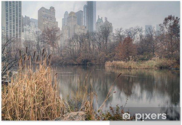 Plakat Central Park, Nowy Jork na mglisty dzień - Ameryka