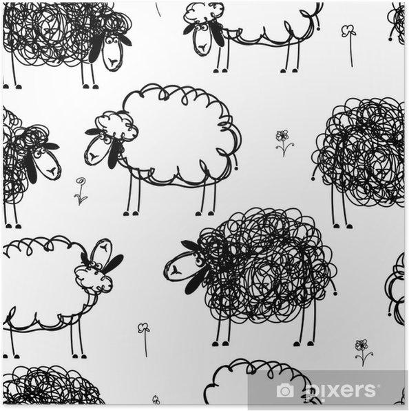 Plakát Černá a bílá ovce na louce, bezešvé vzor pro svůj - Pozadí