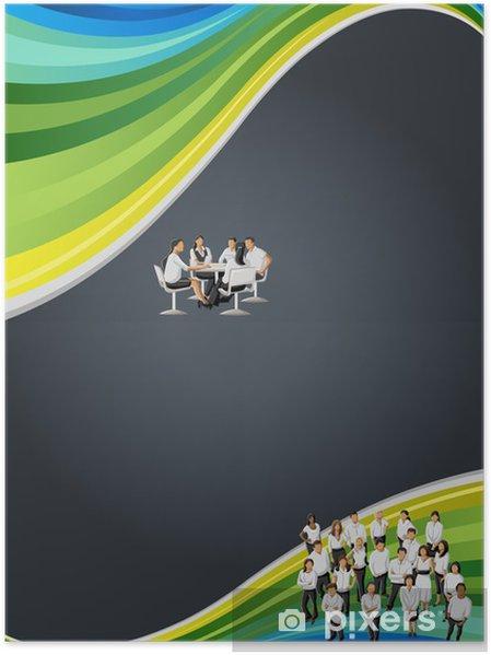Plakát Černá, modrá a zelená šablony s obchodními lidí - Situace v podnikání